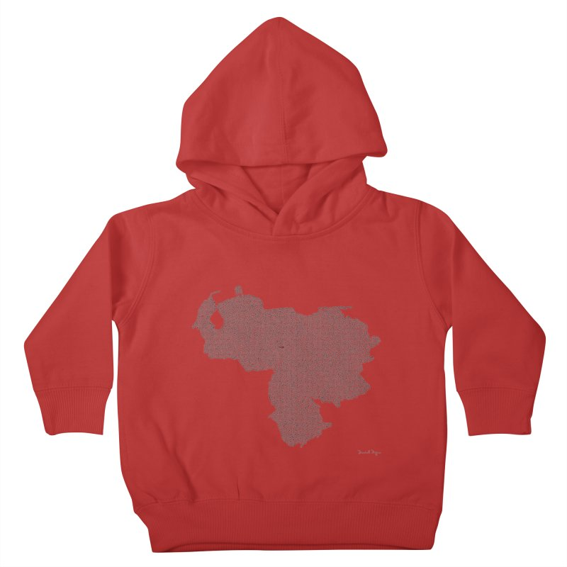 Venezuela Map (One Continuous Line) by Daniel Dugan Kids Toddler Pullover Hoody by Daniel Dugan's Artist Shop