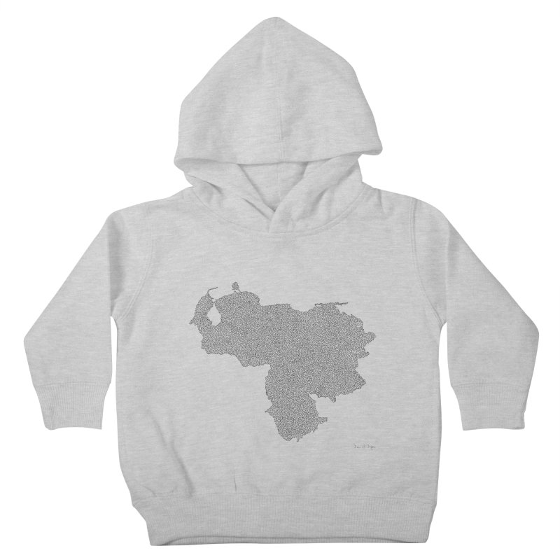 Venezuela Map (One Continuous Line) by Daniel Dugan Kids Toddler Pullover Hoody by Daniel Dugan's Artist Shop