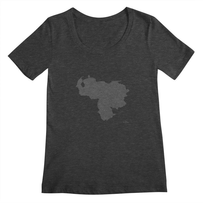 Venezuela Map (One Continuous Line) by Daniel Dugan Women's Scoopneck by Daniel Dugan's Artist Shop