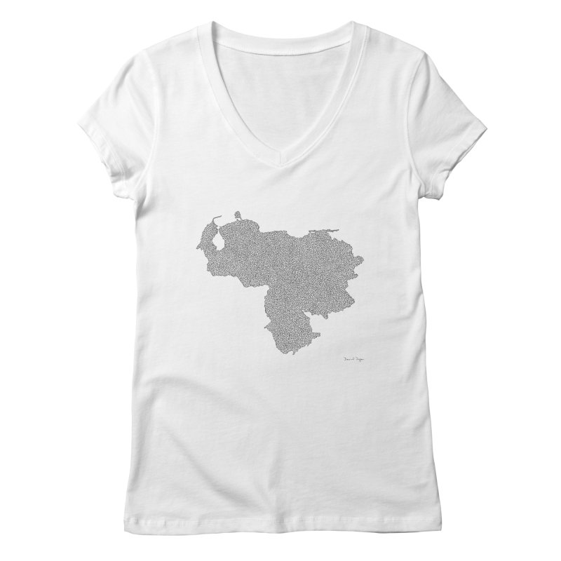 Venezuela Map (One Continuous Line) by Daniel Dugan Women's V-Neck by Daniel Dugan's Artist Shop