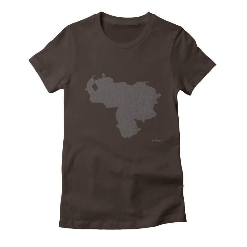 Venezuela Map (One Continuous Line) by Daniel Dugan Women's Fitted T-Shirt by Daniel Dugan's Artist Shop