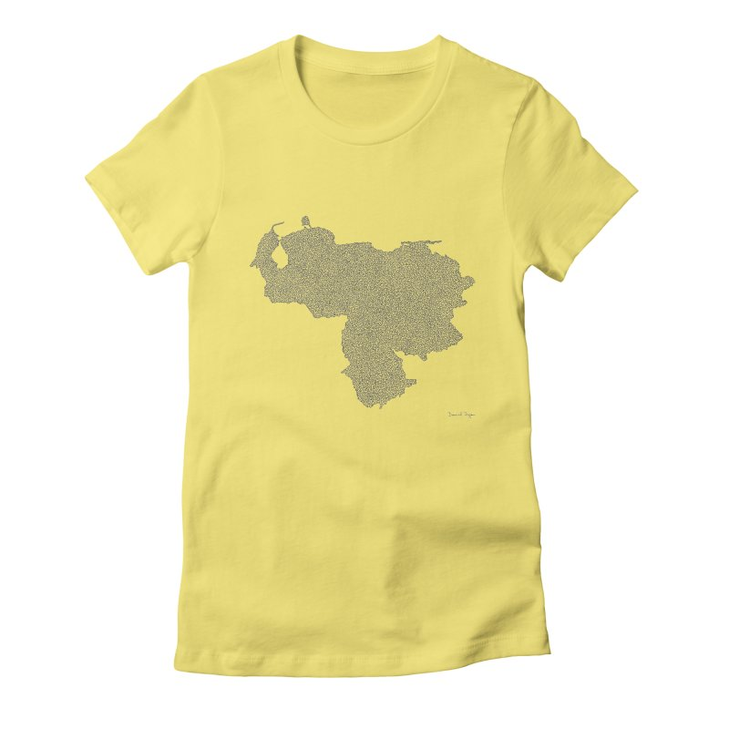 Venezuela Map (One Continuous Line) by Daniel Dugan Women's Fitted T-Shirt by Daniel Dugan's Artist Shop