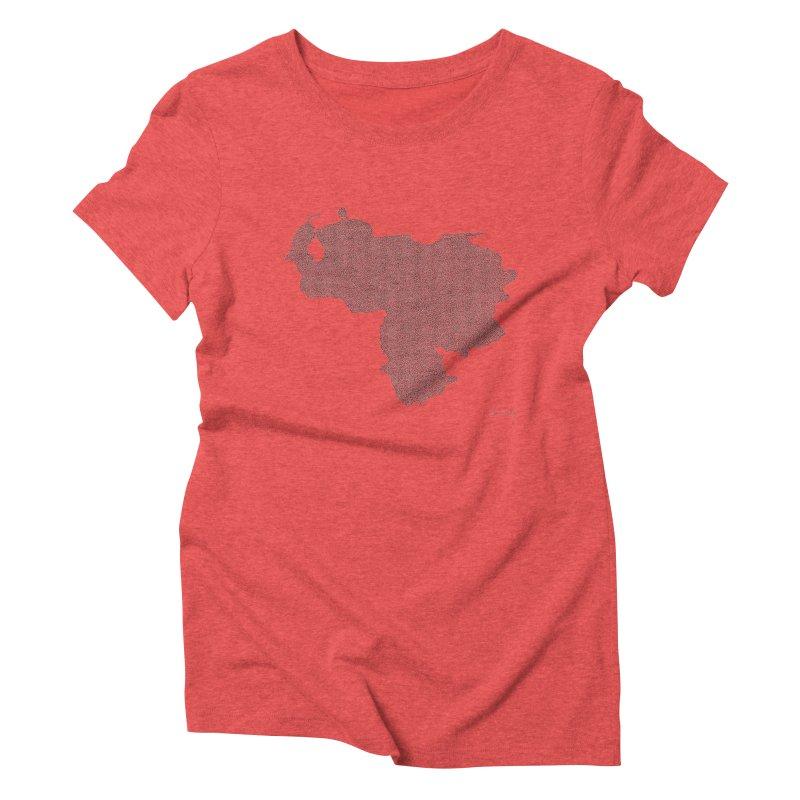 Venezuela Map (One Continuous Line) by Daniel Dugan Women's Triblend T-Shirt by Daniel Dugan's Artist Shop