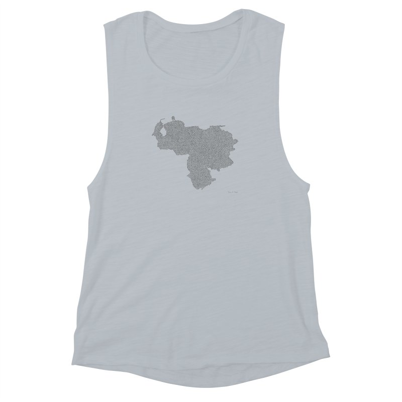 Venezuela Map (One Continuous Line) by Daniel Dugan Women's Muscle Tank by Daniel Dugan's Artist Shop