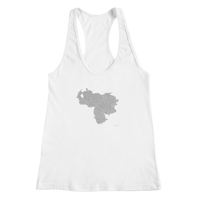 Venezuela Map (One Continuous Line) by Daniel Dugan Women's Racerback Tank by Daniel Dugan's Artist Shop