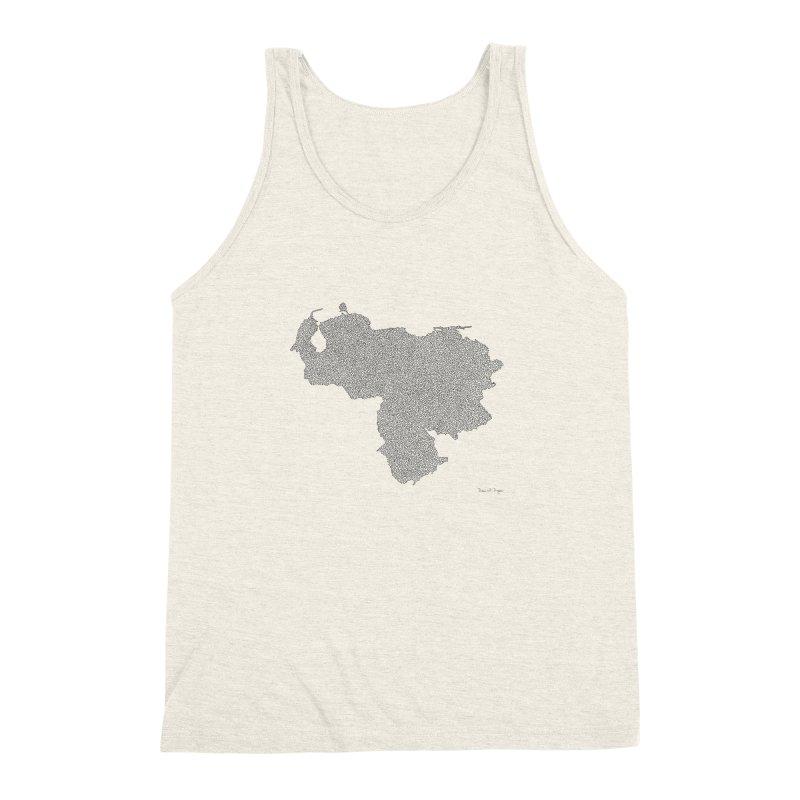 Venezuela Map (One Continuous Line) by Daniel Dugan Men's Triblend Tank by Daniel Dugan's Artist Shop