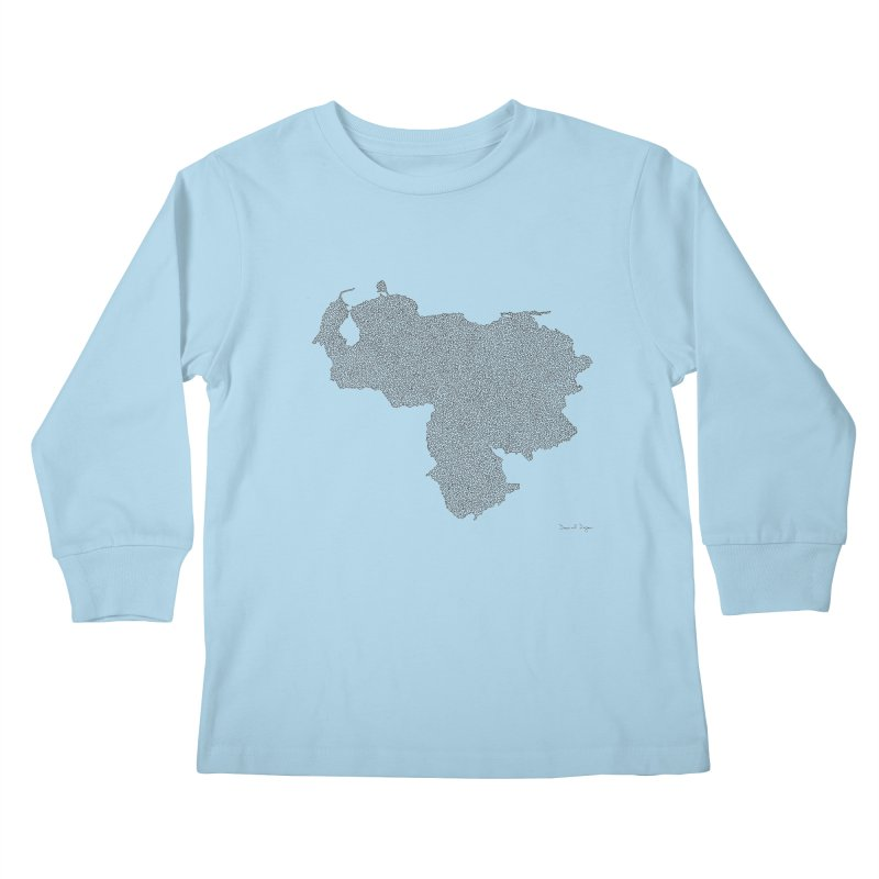 Venezuela Map (One Continuous Line) by Daniel Dugan Kids Longsleeve T-Shirt by Daniel Dugan's Artist Shop