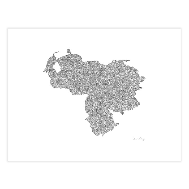 Venezuela Map (One Continuous Line) by Daniel Dugan Home Fine Art Print by Daniel Dugan's Artist Shop