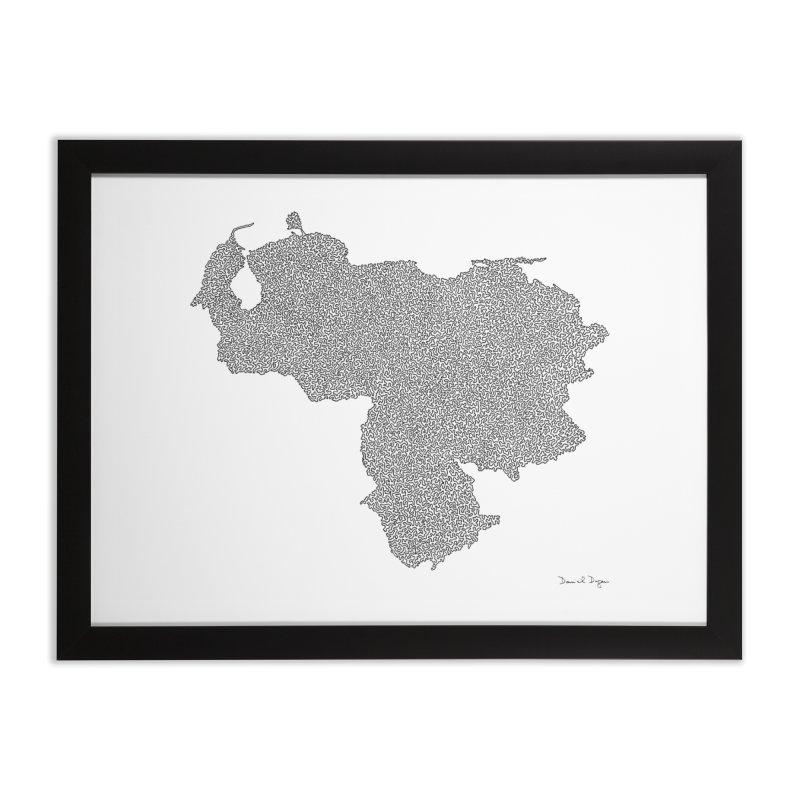 Venezuela Map (One Continuous Line) by Daniel Dugan Home Framed Fine Art Print by Daniel Dugan's Artist Shop