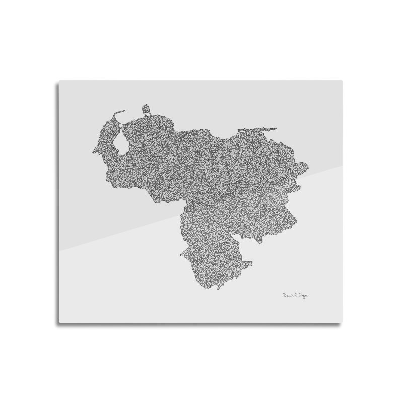 Venezuela Map (One Continuous Line) by Daniel Dugan Home Mounted Aluminum Print by Daniel Dugan's Artist Shop