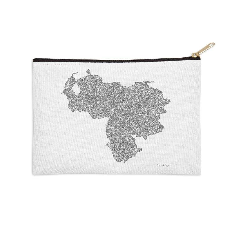 Venezuela Map (One Continuous Line) by Daniel Dugan Accessories Zip Pouch by Daniel Dugan's Artist Shop