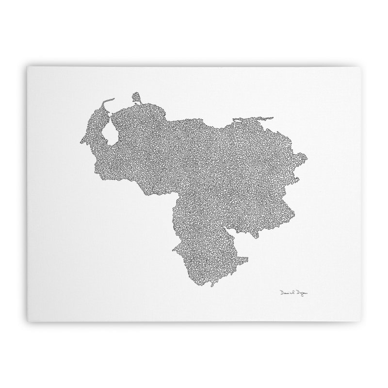 Venezuela Map (One Continuous Line) by Daniel Dugan Home Stretched Canvas by Daniel Dugan's Artist Shop