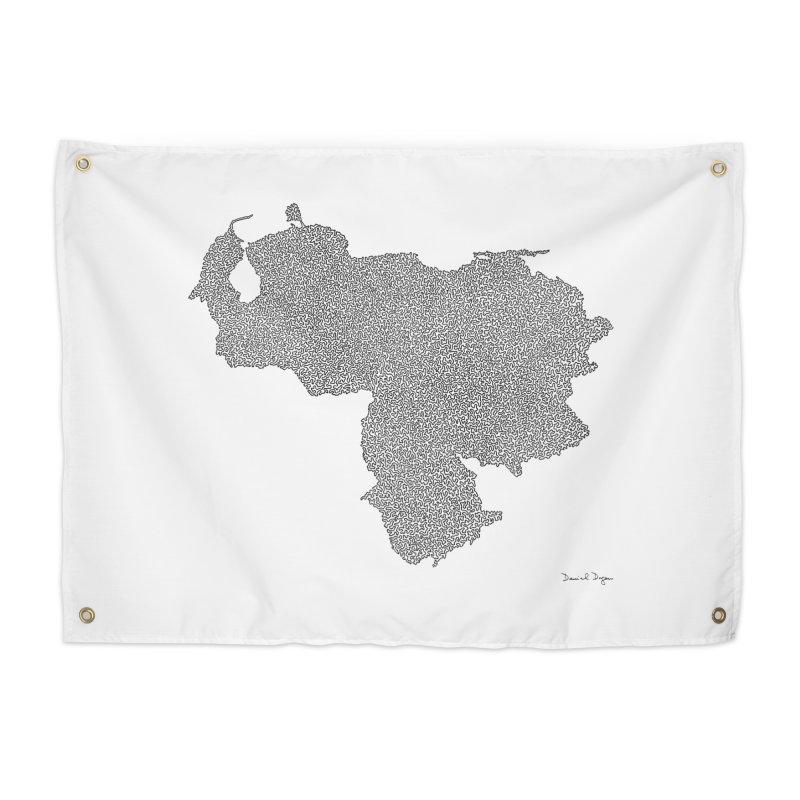 Venezuela Map (One Continuous Line) by Daniel Dugan Home Tapestry by Daniel Dugan's Artist Shop