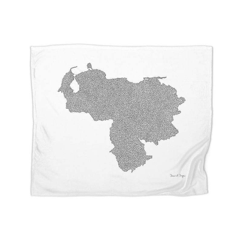 Venezuela Map (One Continuous Line) by Daniel Dugan Home Blanket by Daniel Dugan's Artist Shop
