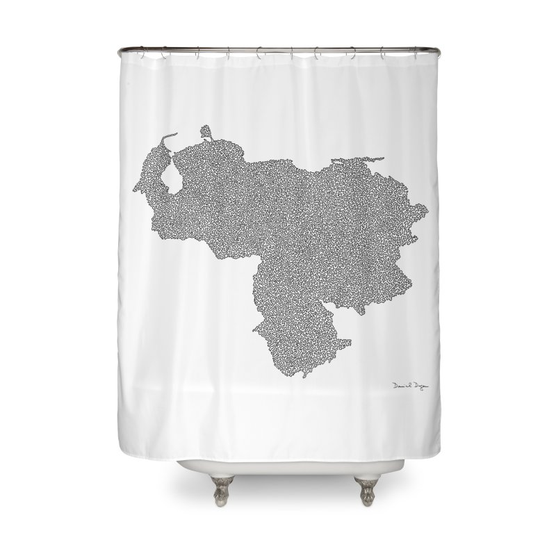 Venezuela Map (One Continuous Line) by Daniel Dugan Home Shower Curtain by Daniel Dugan's Artist Shop