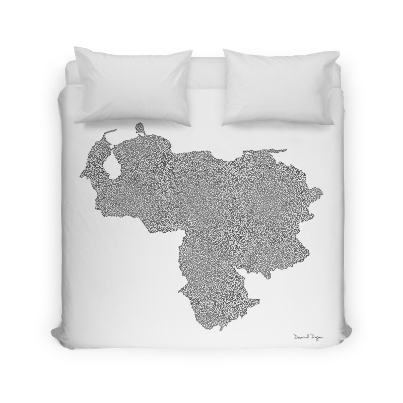 Venezuela Map (One Continuous Line) by Daniel Dugan Home Duvet by Daniel Dugan's Artist Shop