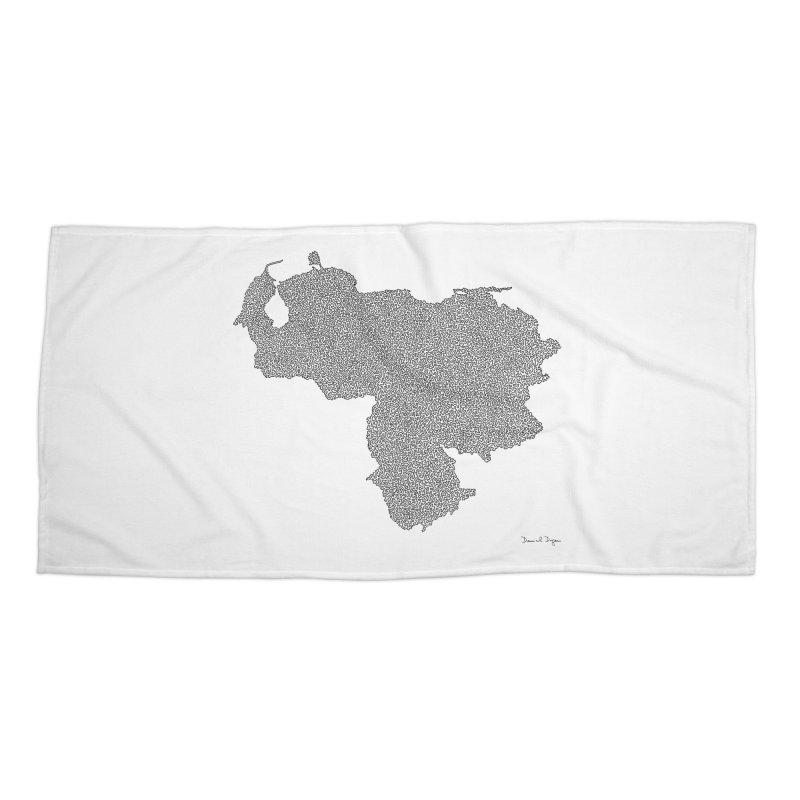 Venezuela Map (One Continuous Line) by Daniel Dugan Accessories Beach Towel by Daniel Dugan's Artist Shop