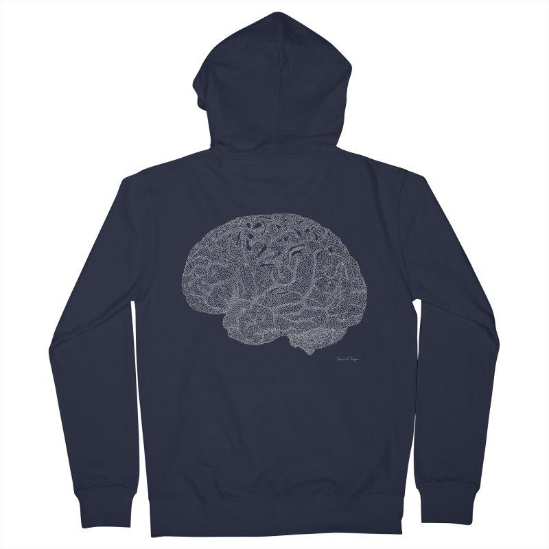 Brain WHITE Men's Zip-Up Hoody by Daniel Dugan's Artist Shop