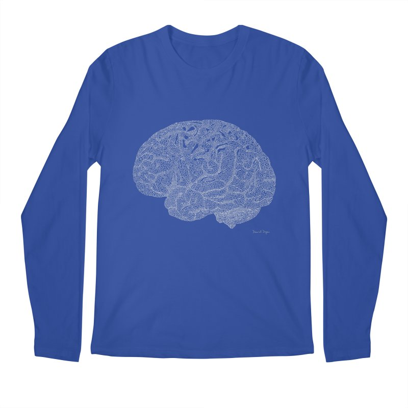 Brain WHITE Men's Longsleeve T-Shirt by Daniel Dugan's Artist Shop