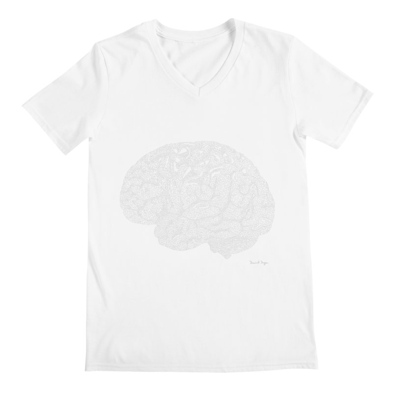 Brain WHITE Men's V-Neck by Daniel Dugan's Artist Shop