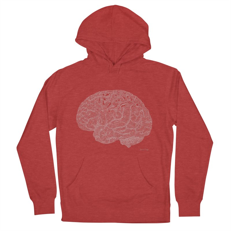 Brain WHITE Women's French Terry Pullover Hoody by Daniel Dugan's Artist Shop