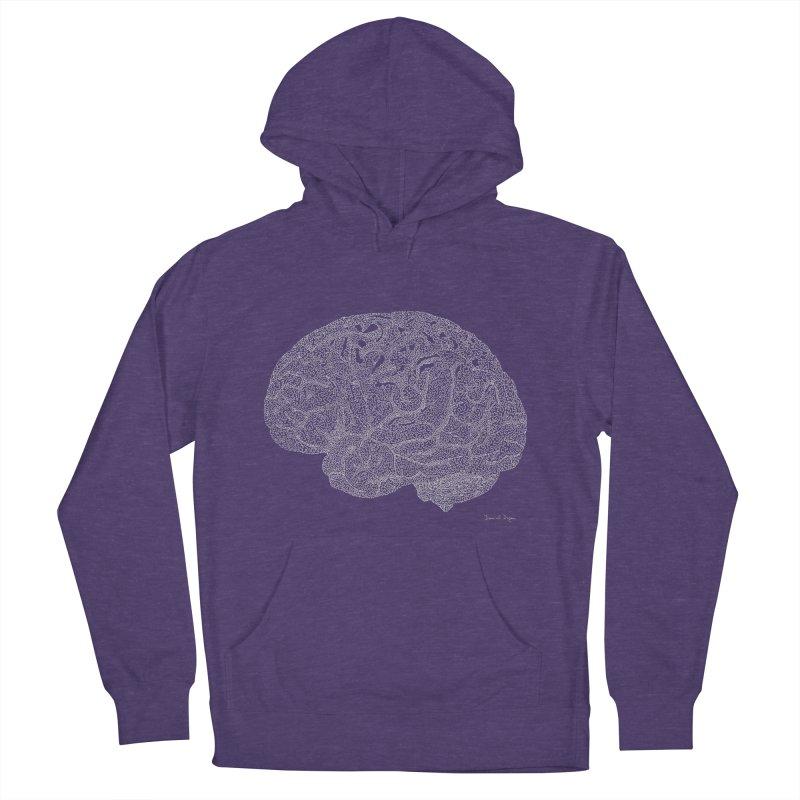 Brain WHITE Men's French Terry Pullover Hoody by Daniel Dugan's Artist Shop