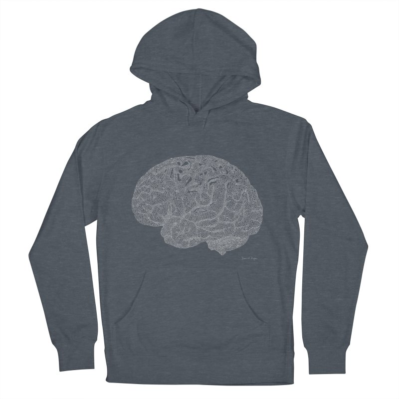 Brain WHITE Men's French Terry Pullover Hoody by Daniel Dugan's Artist Shop