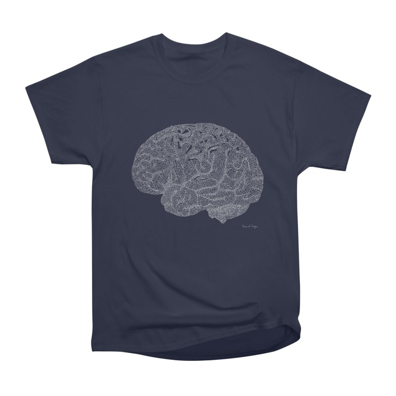 Brain WHITE Men's Heavyweight T-Shirt by Daniel Dugan's Artist Shop