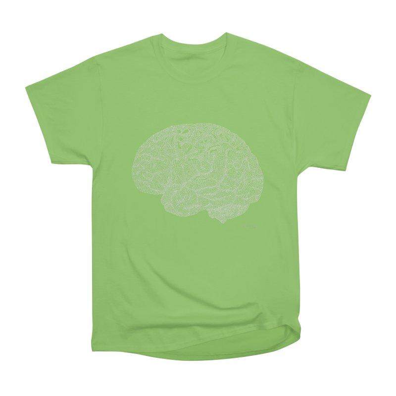 Brain WHITE Women's Heavyweight Unisex T-Shirt by Daniel Dugan's Artist Shop
