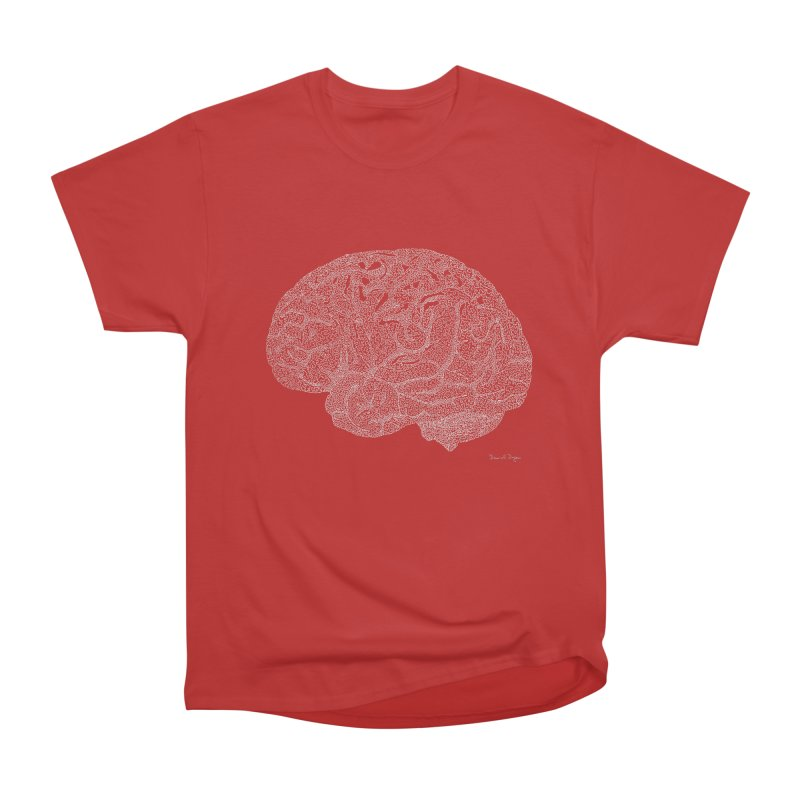 Brain WHITE Women's Heavyweight Unisex T-Shirt by Daniel Dugan's Artist Shop
