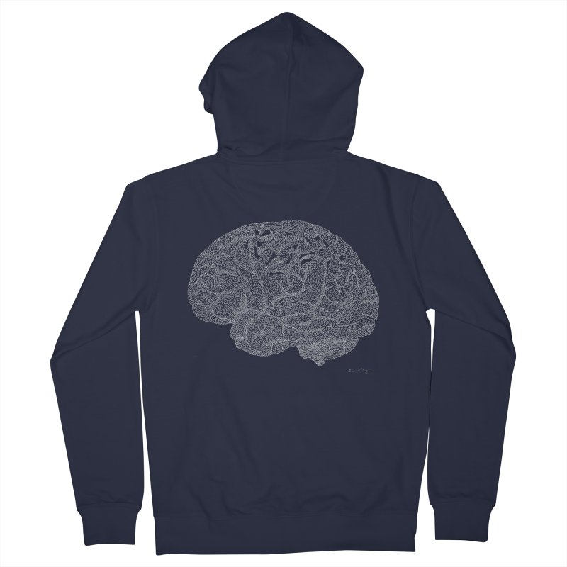 Brain WHITE Men's French Terry Zip-Up Hoody by Daniel Dugan's Artist Shop