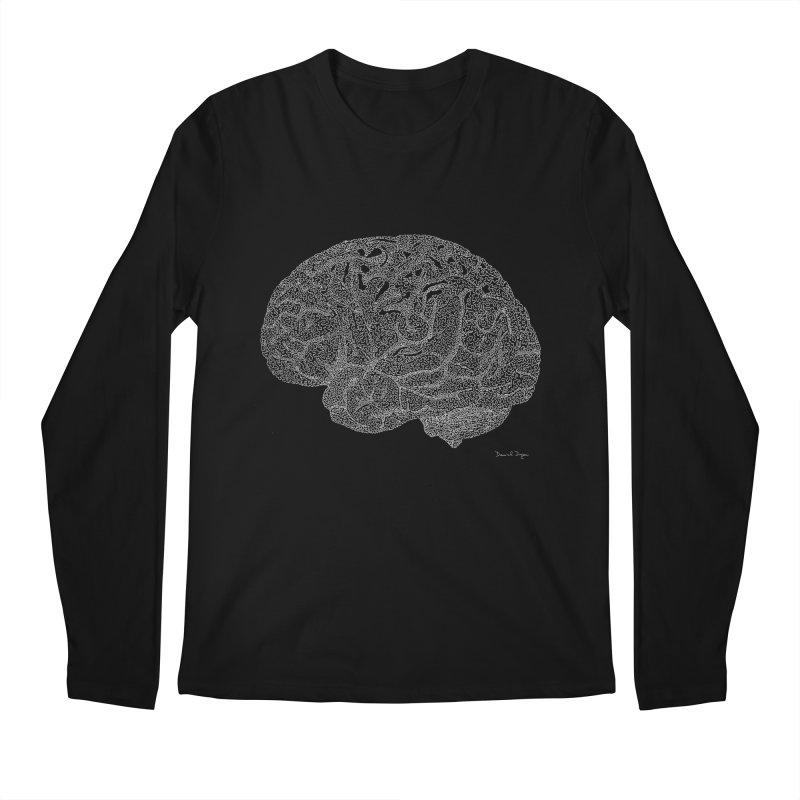 Brain WHITE Men's Regular Longsleeve T-Shirt by Daniel Dugan's Artist Shop