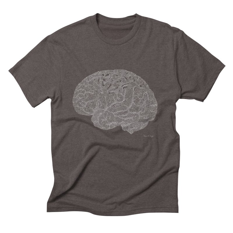 Brain WHITE Men's Triblend T-Shirt by Daniel Dugan's Artist Shop