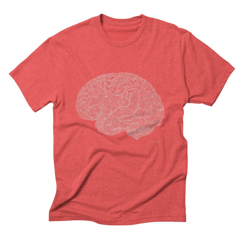 Brain WHITE Men's Triblend T-Shirt by Daniel Dugan's Artist Shop