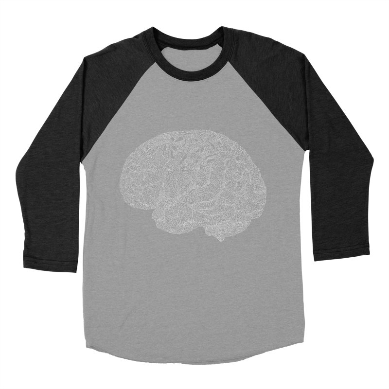 Brain WHITE Women's Baseball Triblend Longsleeve T-Shirt by Daniel Dugan's Artist Shop