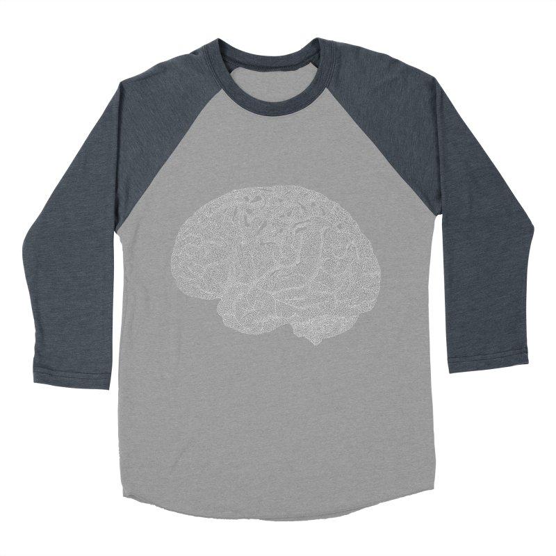 Brain WHITE Women's Baseball Triblend Longsleeve T-Shirt by Daniel Dugan's Artist Shop