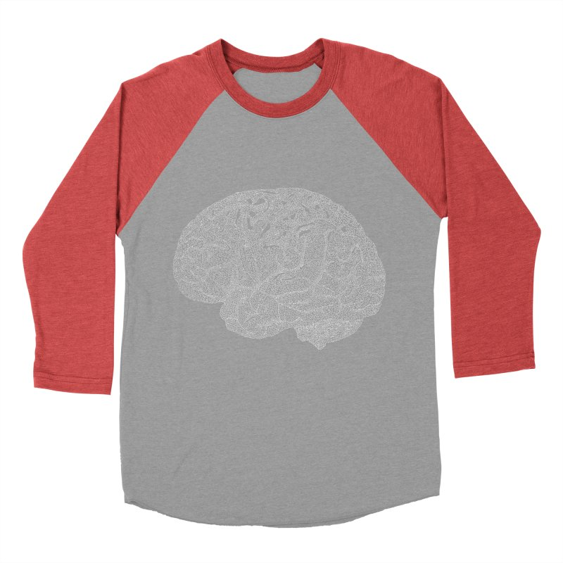 Brain WHITE Men's Baseball Triblend Longsleeve T-Shirt by Daniel Dugan's Artist Shop