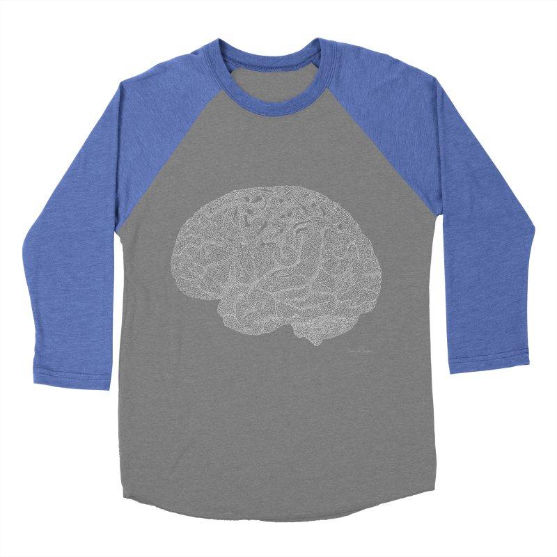 Brain WHITE Men's Baseball Triblend Longsleeve T-Shirt by Daniel Dugan's Artist Shop