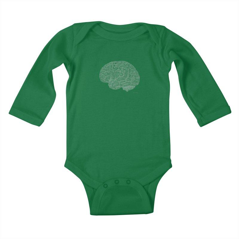 Brain WHITE Kids Baby Longsleeve Bodysuit by Daniel Dugan's Artist Shop