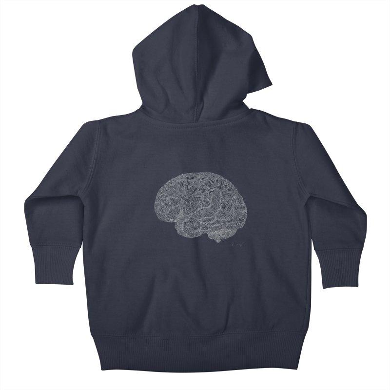 Brain WHITE Kids Baby Zip-Up Hoody by Daniel Dugan's Artist Shop
