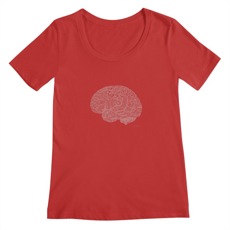 Brain WHITE Women's Regular Scoop Neck by Daniel Dugan's Artist Shop