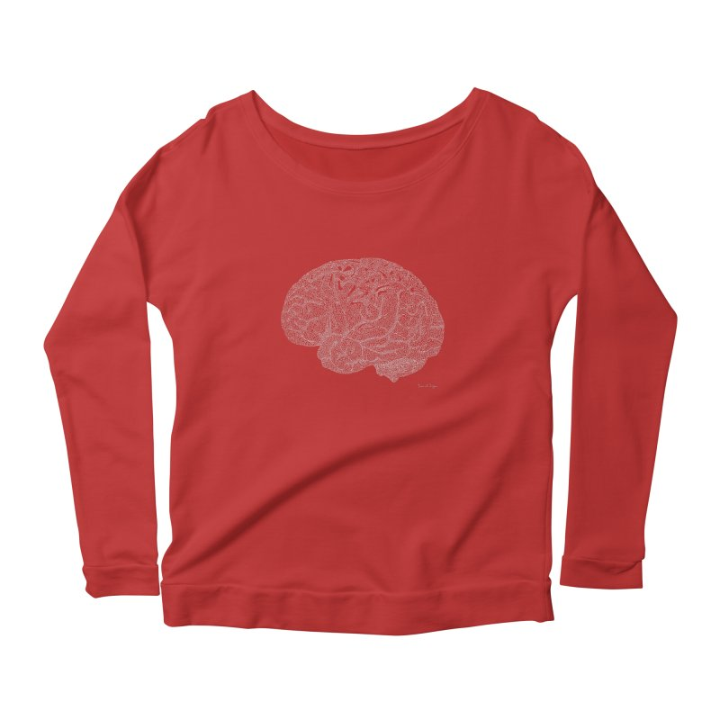 Brain WHITE Women's Scoop Neck Longsleeve T-Shirt by Daniel Dugan's Artist Shop