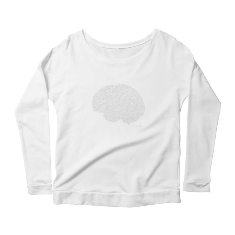 Brain WHITE Women's Scoop Neck Longsleeve T-Shirt by Daniel Dugan's Artist Shop