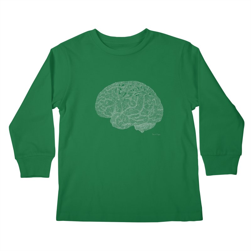 Brain WHITE Kids Longsleeve T-Shirt by Daniel Dugan's Artist Shop