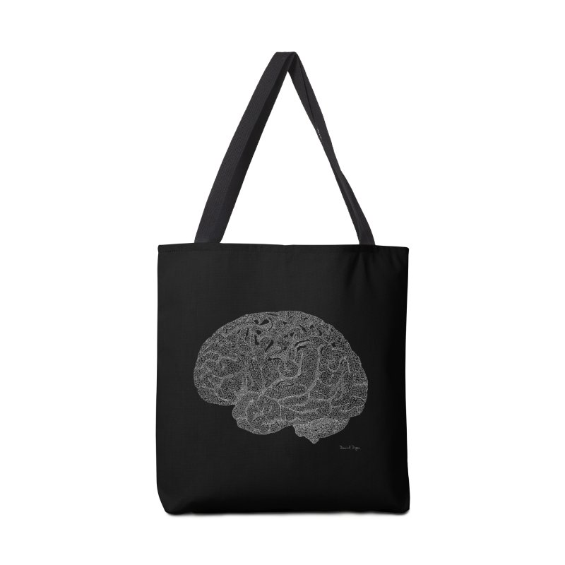 Brain WHITE Accessories Tote Bag Bag by Daniel Dugan's Artist Shop