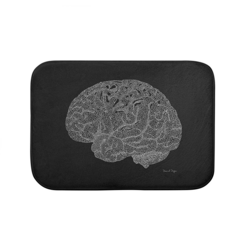 Brain WHITE Home Bath Mat by Daniel Dugan's Artist Shop