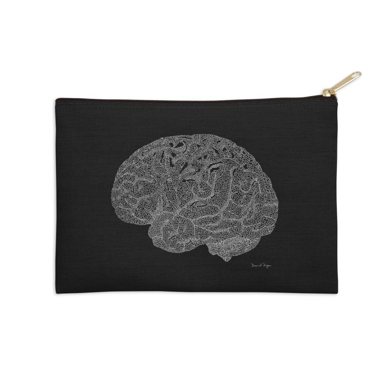 Brain WHITE Accessories Zip Pouch by Daniel Dugan's Artist Shop