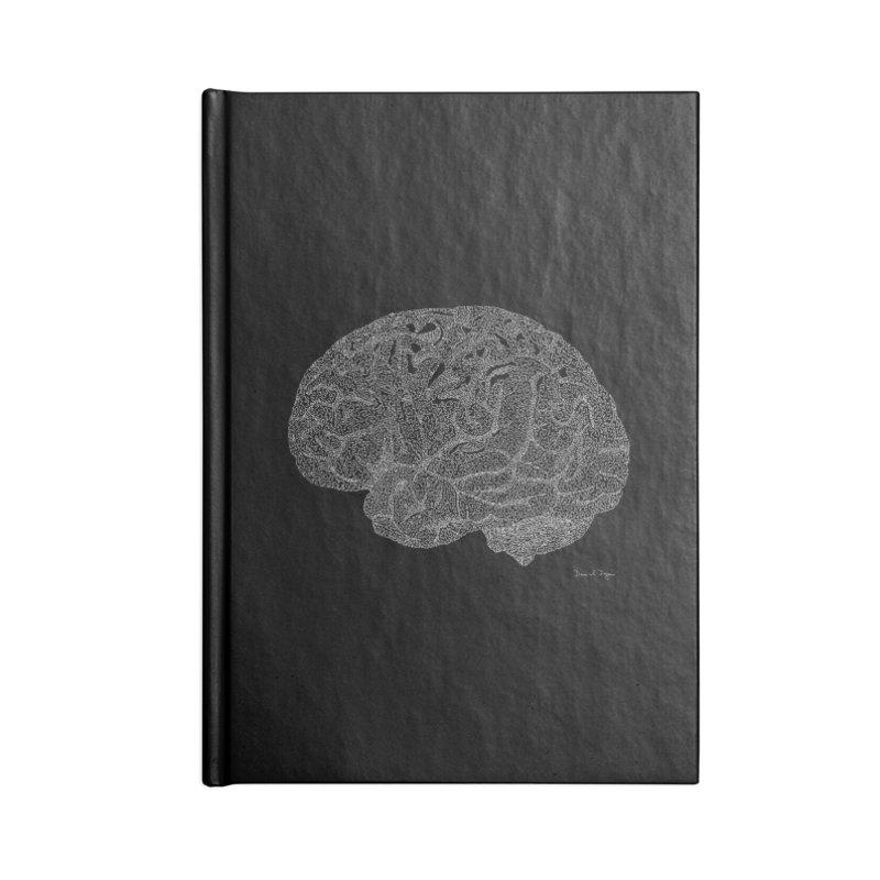 Brain WHITE Accessories Lined Journal Notebook by Daniel Dugan's Artist Shop