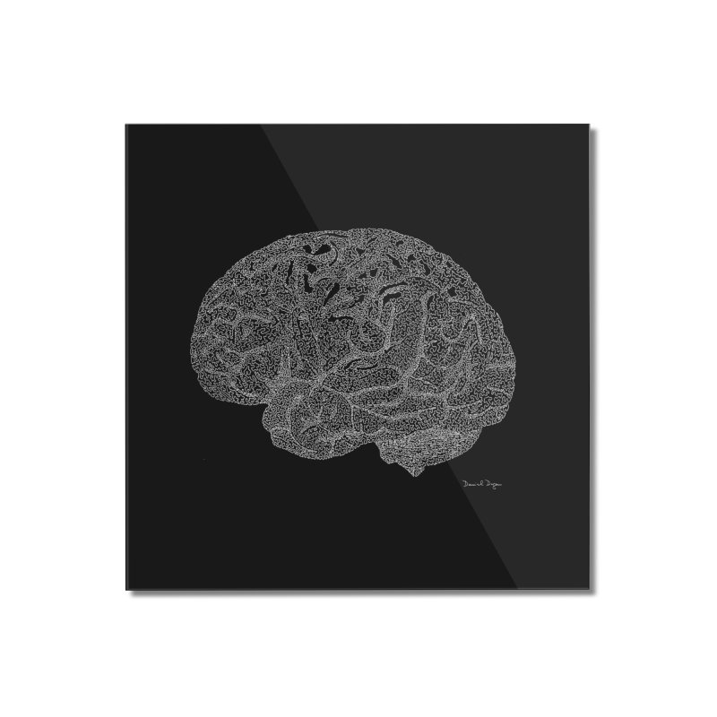 Brain WHITE Home Mounted Acrylic Print by Daniel Dugan's Artist Shop