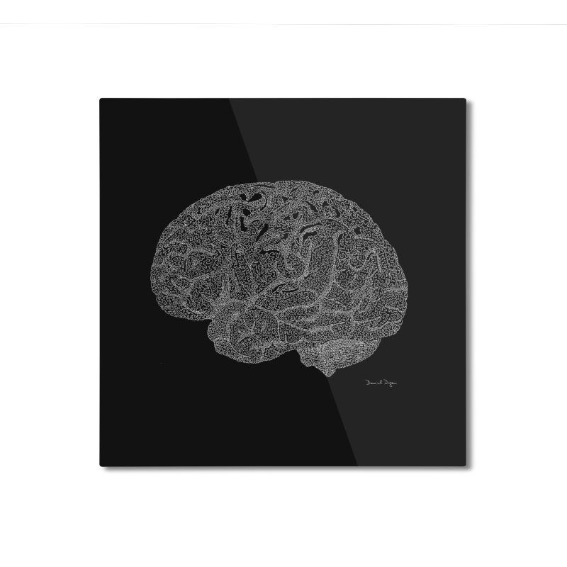 Brain WHITE Home Mounted Aluminum Print by Daniel Dugan's Artist Shop